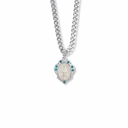 3/4 Inch Sterling Silver Decorative Border Miraculous Medal with May Birthstone Crystal Stones