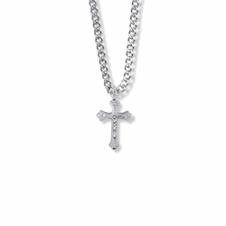 3/4 Inch Sterling Silver Decorative Scroll Crucifix Necklace