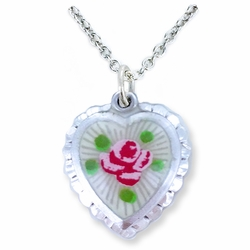 3/4 Inch Sterling Silver Enameled Heart and Shadow Miraculous Medal