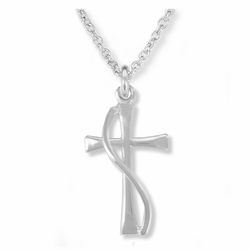 3/4 Inch Sterling Silver Flared and Wired Cross Necklace