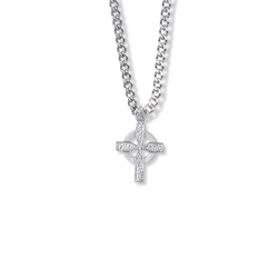 3/4 Inch Sterling Silver Hammered Looking Celtic Cross Necklace