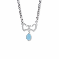 3/4 Inch Sterling Silver Hearts with Blue Hanging Miraculous Medal Necklace
