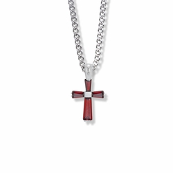 3/4 Inch Sterling Silver July Birthstone Baguette Cross Necklace with CZ Crystals