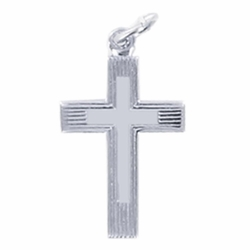 3/4 Inch Sterling Silver Lined and Inner Cross Necklace