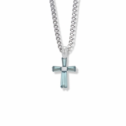 3/4 Inch Sterling Silver March Birthstone Baguette Cross Necklace with CZ Crystals