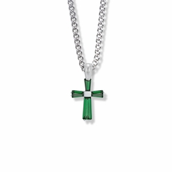 3/4 Inch Sterling Silver May Birthstone Baguette Cross Necklace with CZ Crystals