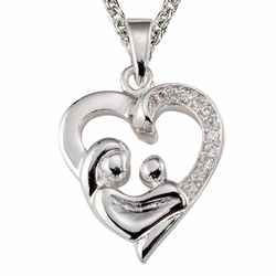 3/4 Inch Sterling Silver Mother and Child Heart Necklace with Crystal Cubic Zirconia Stones