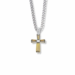 3/4 Inch Sterling Silver November Birthstone Baguette Cross Necklace with CZ Crystals