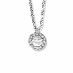 3/4 Inch Sterling Silver Open Circle Dove Necklace with Cubic Zirconia Stones