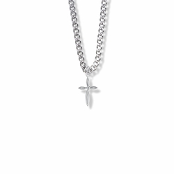 3/4 Inch Sterling Silver Oval Ends Cross Necklace with Cubic Zirconia Stone