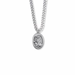 3/4 Inch Sterling Silver Oval St. Christopher Medal