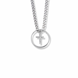 3/4 Inch Sterling Silver Ring with Dangling Cross Necklace