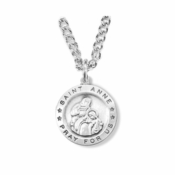 3/4 Inch Sterling Silver Round St. Anne Medal, Patron of Women in Labor