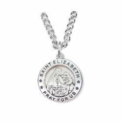 3/4 Inch Sterling Silver Round St. Elizabeth Medal, Patron of Nurses