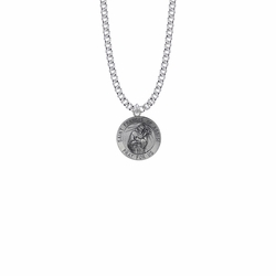 3/4 Inch Sterling Silver Round St. Francis Medal, Patron Saint of Animals