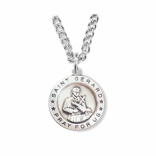 3/4 Inch Sterling Silver Round  St. Gerard Medal, Patron of Expectant Mothers