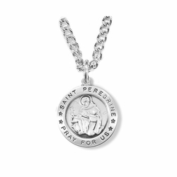 3/4 Inch Sterling Silver Round St. Peregrine Medal, Patron of Cancer