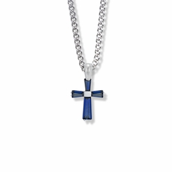 3/4 Inch Sterling Silver September Birthstone Baguette Cross Necklace with CZ Crystals