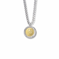 3/4 Inch Sterling Silver Two-Tone Round Our Guardian Angel Medal