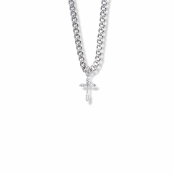 3/4 Inch Sterling Silver Wheat Ends Cross Necklace with Cubic Zirconia Stone