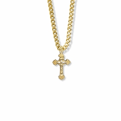 3/4 Inch Two-Tone 14K Gold Filled Budded Ends Decorative Crucifix Necklace