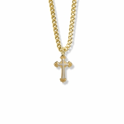 3/4 Inch Two-Tone 14K Gold Filled Scroll Ends Cross Necklace