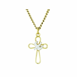 3/4 Inch Two-Tone 14K Gold Over Sterling Silver Open Dove Cross Necklace