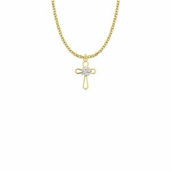 3/4 Inch Two-Tone 14KT Gold Plated Over Sterling Silver Open Dove Cross Necklace
