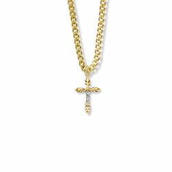 3/4 Inch Two-Tone 14K Gold Over Sterling Silver Wheat Crucifix Necklace