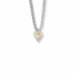 3/4 Inch Two-Tone Sterling Silver Cross and Heart Necklace