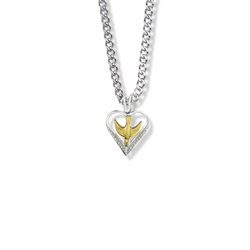 3/4 Inch Two-Tone Sterling Silver Dove and Filigree Heart Necklace