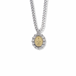 3/4 Inch Two-Tone Sterling Silver Filigree Miraculous Medal