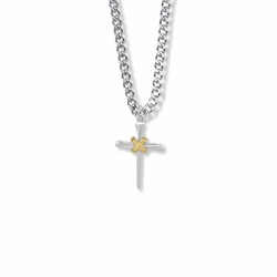 3/4 Inch Two-Tone Sterling Silver Rope and Nail Cross Necklace