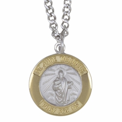 3/4 Inch Two Tone Sterling Silver St.Jude Medal, Patron of Hopeless Causes