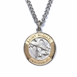 3/4 Inch Two Tone Sterling Silver St.Michael Medal, Patron of Police