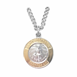 3/4 Inch Two Tone Sterling Silver St.Peregrine Medal, Patron of Cancer