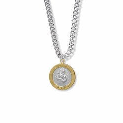 3/4 Inch Two Tone Sterling Silver St. Roch Medal, Patron of Infectious Diseases