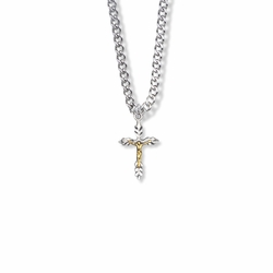 3/4 Inch Two-Tone Sterling Silver Wheat Crucifix Necklace