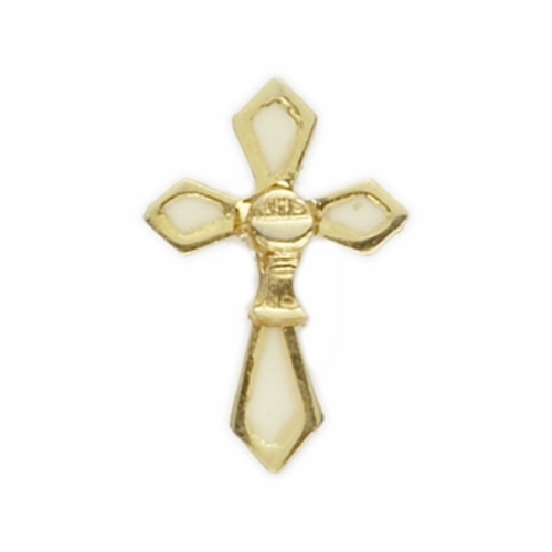 "3/4"" x 1/2"" Gold Lapel Cross with Chalice Pin"