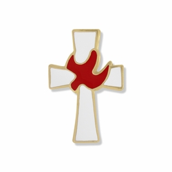 3/4 x 1/2 Inch Gold and Enameled Descending Dove and Cross Lapel Pin