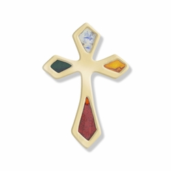 3/4 x 1/2 Inch Gold and Enameled Pointed Ends Cross Lapel Pin