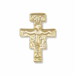 3/4 x 1/2 Inch Gold Crucifix Lapel Pin