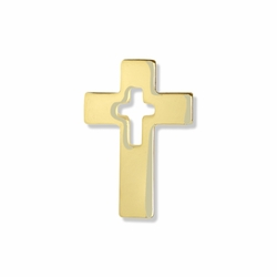 3/4 x 1/2 Inch Gold Pierced Cross on Cross Lapel Pin