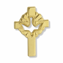 3/4 x 1/2 Inch Gold Pierced Descending Dove and Cross Lapel Pin