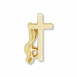 3/4 x 3/8 Inch Gold Music Cross Lapel Pin