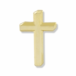 3/4 x 7/16 Inch Gold 3-Dimensional Cross Lapel Pin