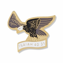 3/4 x 7/8 Gold and Enameled Soaring Eagle Isaiah 40:31 Lapel Pin