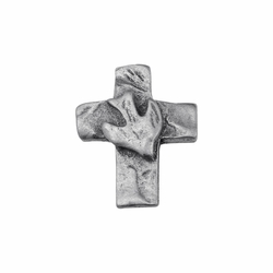 3/4 x 9/16 Inch Pewter Cross with Dove Lapel Pin