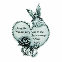 "3-7/8 x 1-7/8 Inch Pewter Daughter ""Drive Safely"" Heart and Angel Visor Clip"