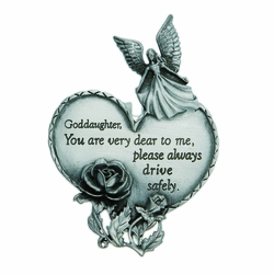 "3-7/8 x 1-7/8 Inch Pewter Goddaughter ""Drive Safely"" Heart and Angel Visor Clip"